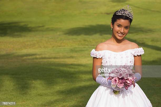 teenage girl at quinceanera - quinceanera stock pictures, royalty-free photos & images