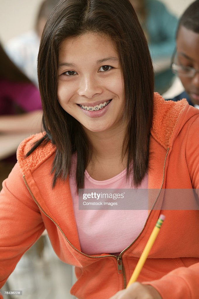 Teenage girl at school : Stockfoto