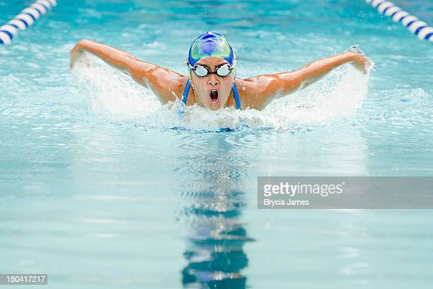 teenage girl butterfly i - competitive sport stock pictures, royalty-free photos & images