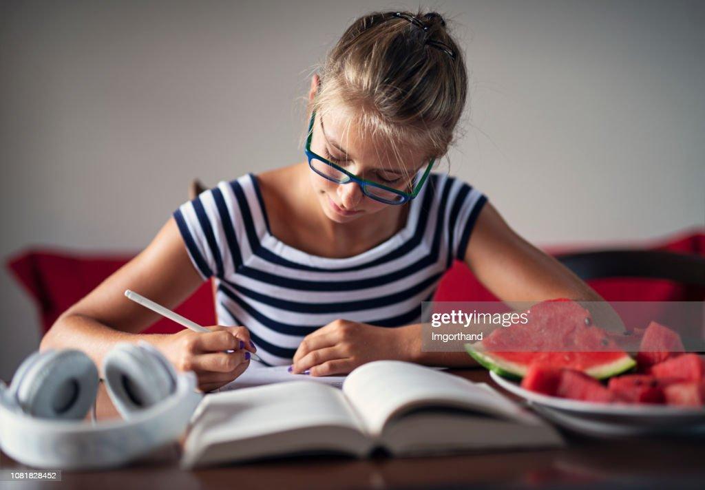 Girl Doing Homework Stock Photo - Image: 13086380