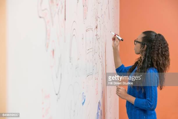 Teenage girl drawing on whiteboard