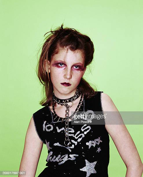 Teenage girl (14-16) dressed as punk, portrait