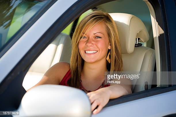 teenage girl driver - rich_legg stock pictures, royalty-free photos & images