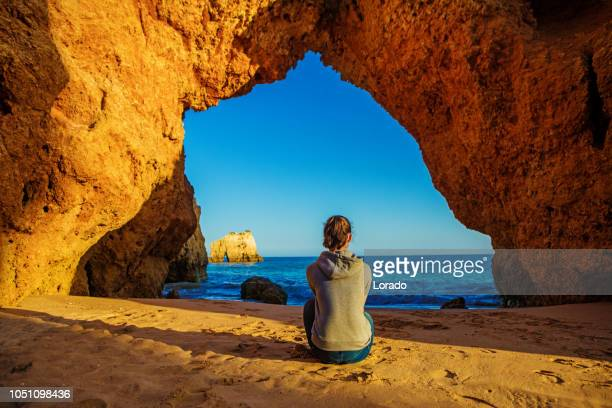 teenage girl enjoying nature in portugal - alvor stock pictures, royalty-free photos & images
