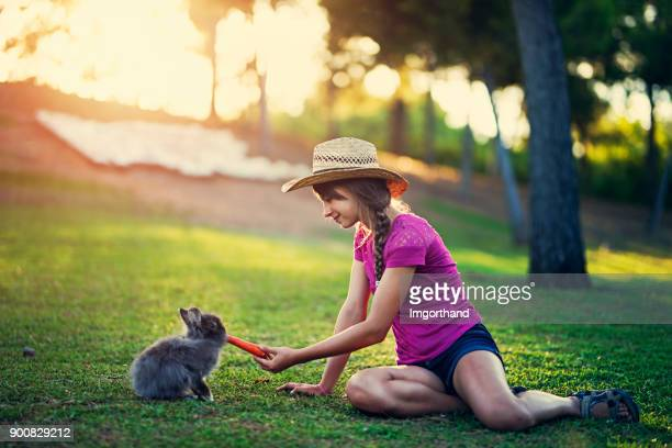 teenage girl feeding rabbit in the park - imgorthand stock photos and pictures