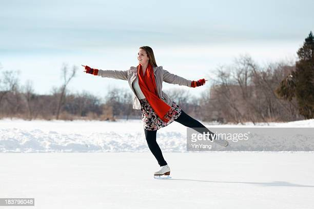Teenage Girl Figure Skating on Winter Lake Ice Rink, Minneapolis