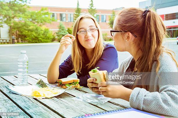 Teenage girl friends enjoying lunch together