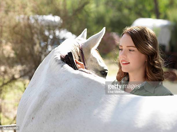 Teenage girl grooming grey horse