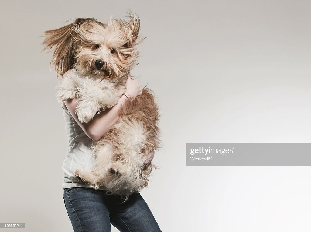 Teenage girl (16-17) holding dog and jumping : Stock Photo