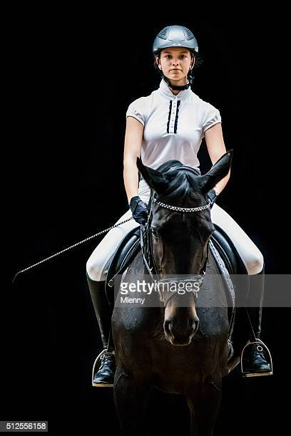 teenage girl horseback riding equestrian portrait - equestrian event stock pictures, royalty-free photos & images