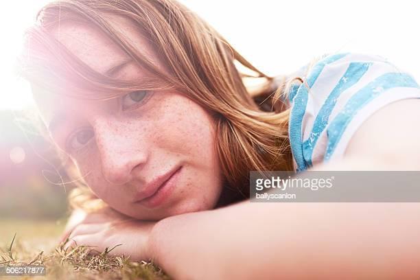 Teenage Girl In Garden.