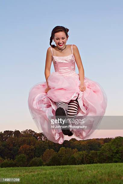 teenage girl in pink prom dress - prom dress stock pictures, royalty-free photos & images