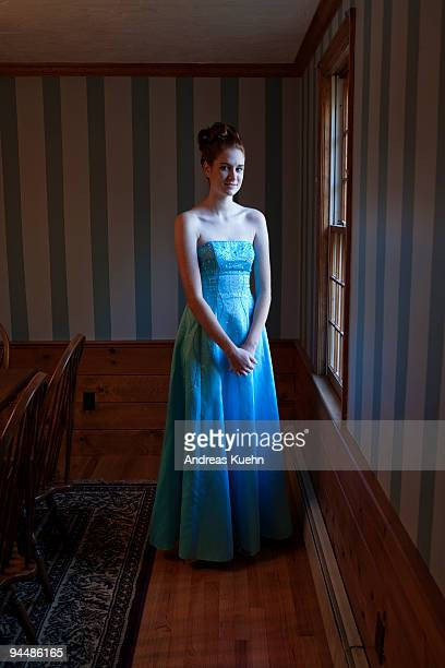 teenage girl in prom dress, portrait. - prom dress stock pictures, royalty-free photos & images