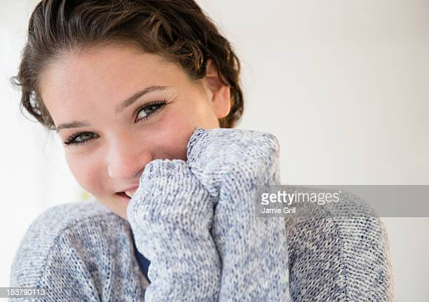 Teenage girl in sweater