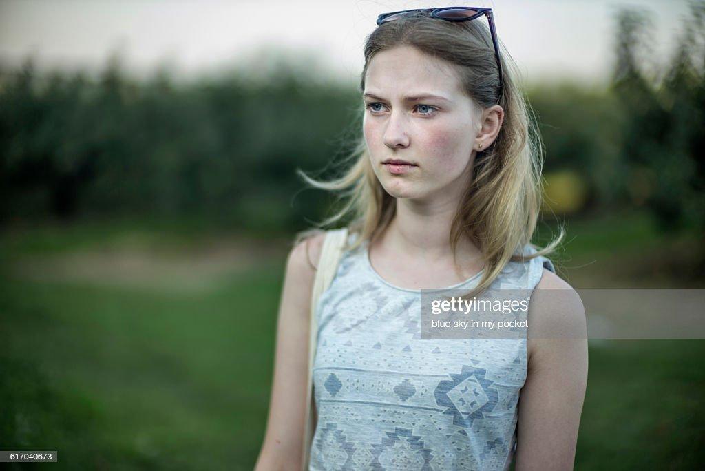 Teenage girl in the countryside. : Stock Photo