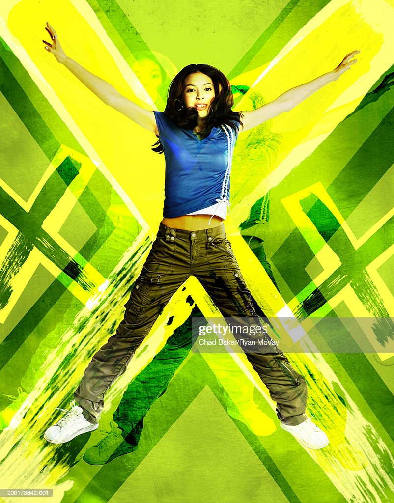 Teenage girl (15-17) jumping (Digital Composite) : Stock Photo