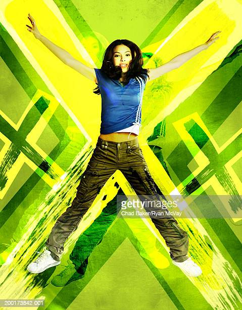 teenage girl (15-17) jumping (digital composite) - letter x stock pictures, royalty-free photos & images