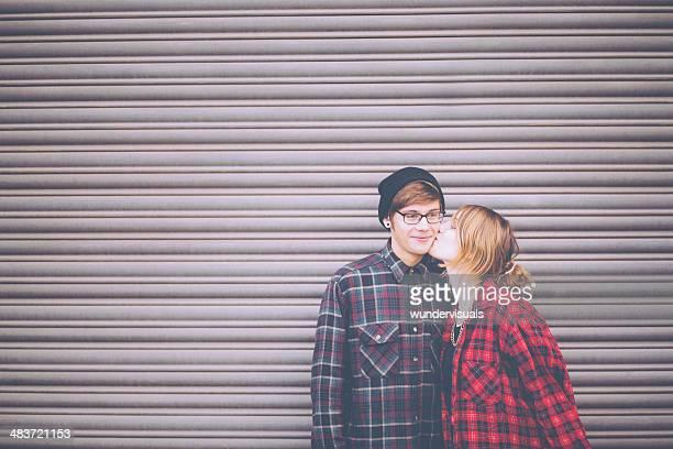 Teenage Girl Kissing Her Boyfriend