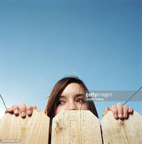 Teenage girl (14-16) looking over fence, low angle view, high section