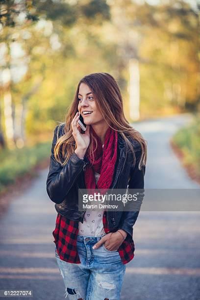 Teenage girl on leisure walk