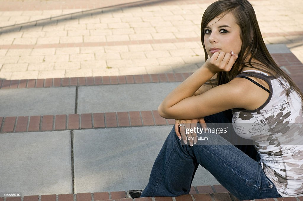 Teenage Girl on Steps : Stock Photo