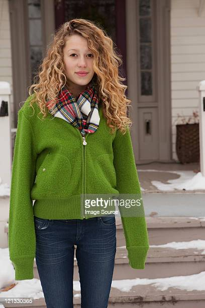 teenage girl outside house, portrait - chatham new york state stock pictures, royalty-free photos & images