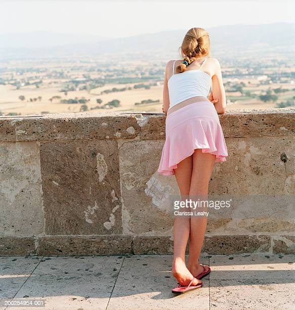 teenage girl (14-16) overlooking rural landscape, rear view - ado minijupe photos et images de collection