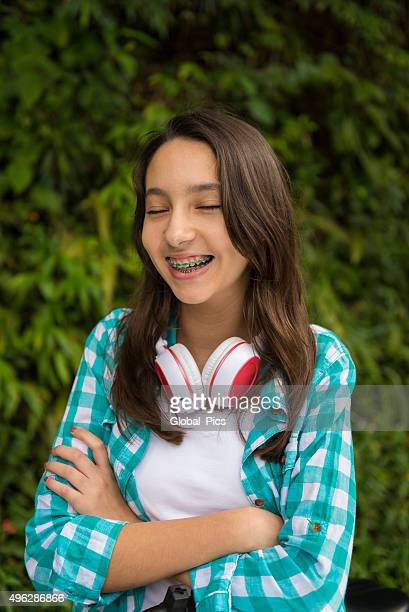 teenage girl - beautiful girl smile braces vertical stock photos and pictures