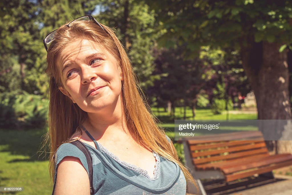 Teenage girl portrait with glasses : Stock Photo