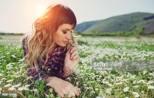 Teenage girl relaxing in nature