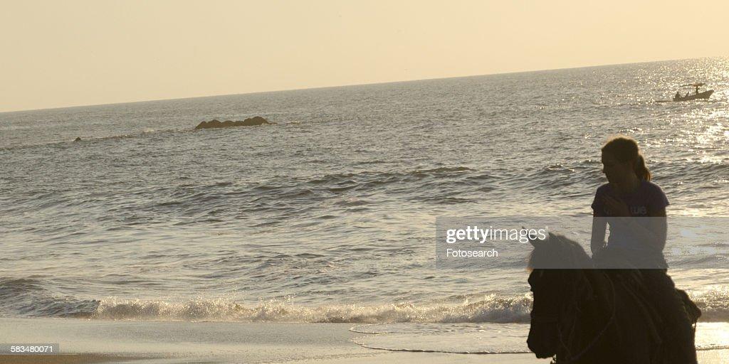 Teenage girl riding a horse on the beach : Stock Photo