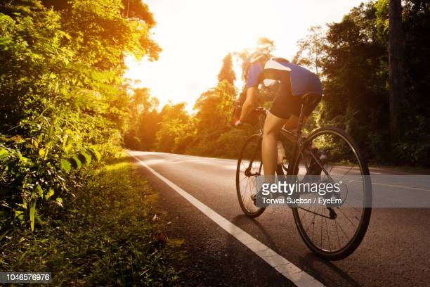 teenage girl riding bicycle on road amidst trees - torwai stock pictures, royalty-free photos & images