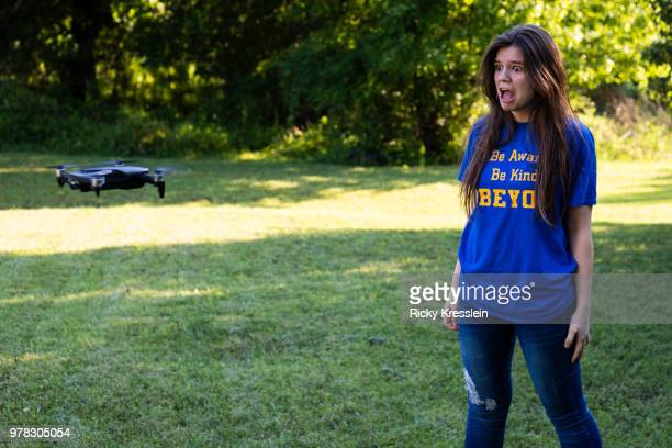 teenage girl scared of drone - woodbridge virginia stock pictures, royalty-free photos & images