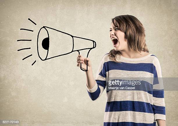 Teenage Girl, shouting in a Megaphone