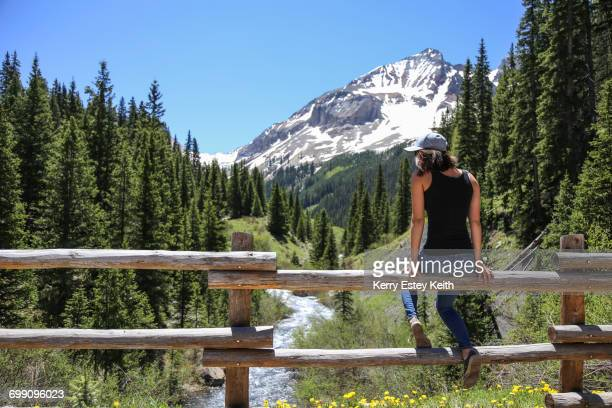 a teenage girl sits on a rail fence overlooking a colorado creek in the san juan mountains - kerry estey keith stock photos and pictures