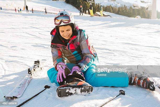 teenage girl skiing in italian alps. - injury stock photos and pictures