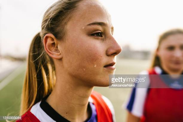 teenage girl, soccer player, on a court - match sport stock pictures, royalty-free photos & images