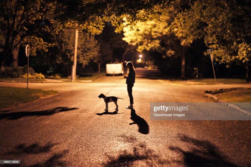 teenage girl standing with dog in middle of street at night ストック
