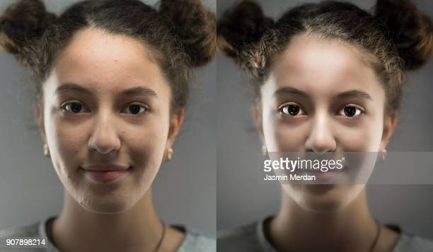 teenage girl studio portrait for showing retouch difference and after editing - belichting stockfoto's en -beelden