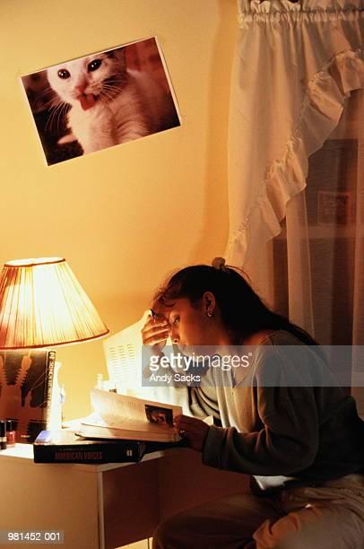 Teenage girl (14-16) studying at desk in bedroom