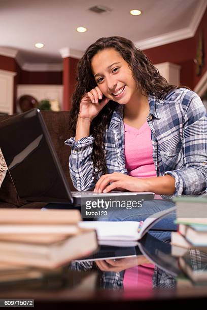 teenage girl studying or doing homework at home - high school musical: the musical: the series stock photos and pictures