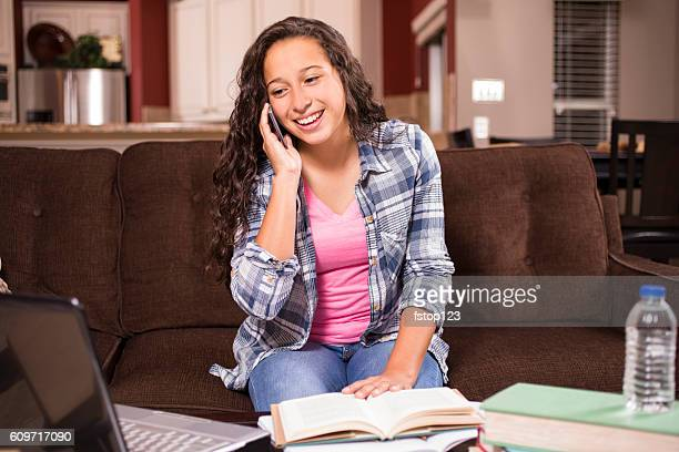 teenage girl studying or doing homework at home - one teenage girl only stock pictures, royalty-free photos & images