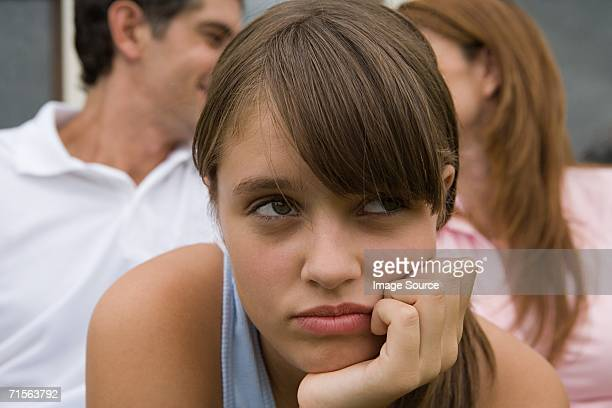 Teenage girl sulking