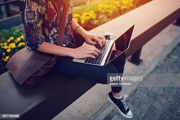 teenage girl using lap top at the bridge - buitenopname stockfoto's en -beelden