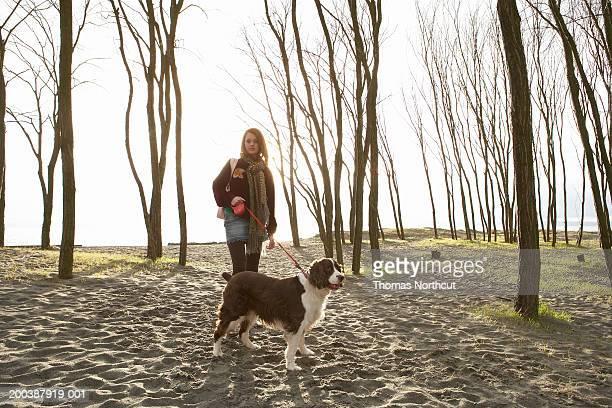 teenage girl (15-17) walking english springer spaniel on beach, spring - english springer spaniel stock pictures, royalty-free photos & images