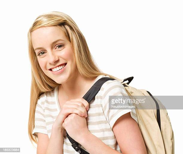 Teenage Girl With a Backpack - Isolated