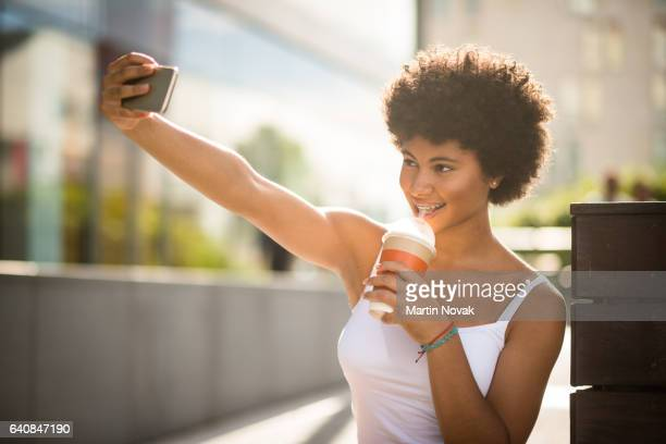 teenage girl with a perfect smile taking a selfie - nice girls pic stock photos and pictures