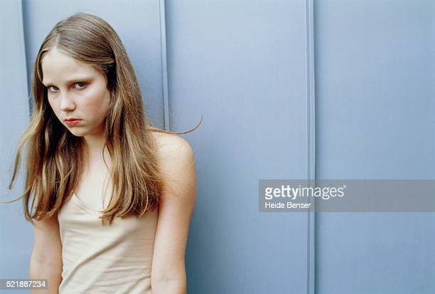 Teenage girl with angry expression