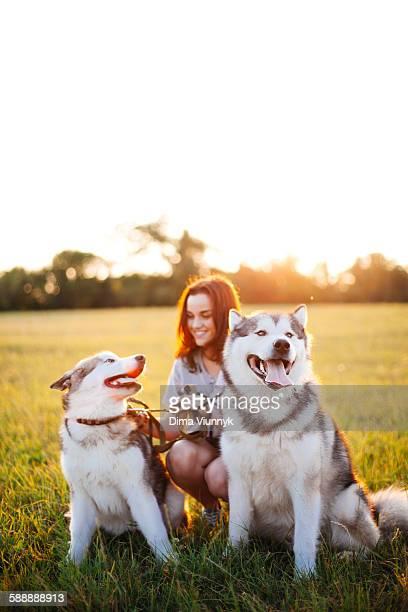 Teenage girl with her dog