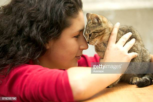 Teenage girl with tabby kitten Felis catus rubbing noses